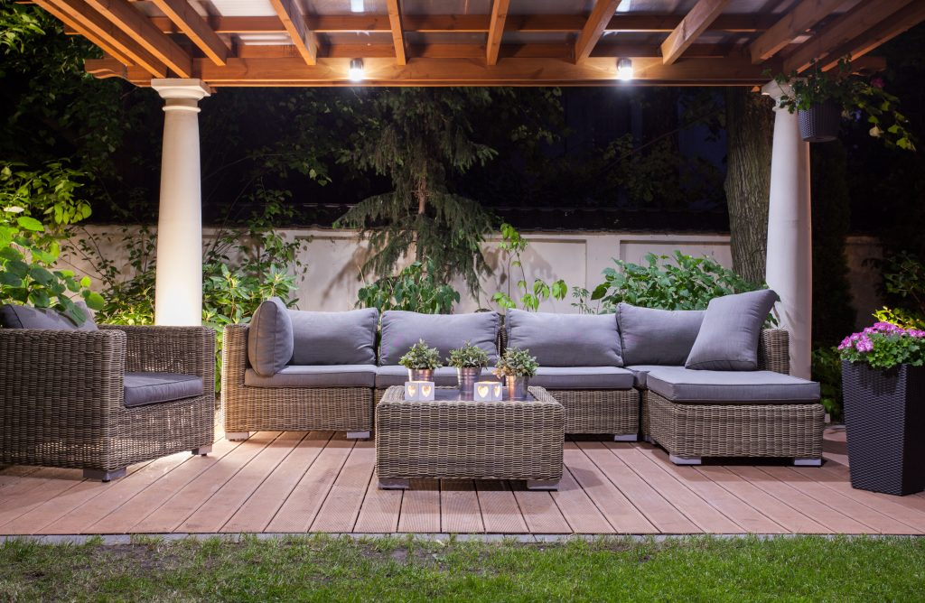 Horizontal view of modern patio at night